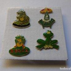 Coleccionismo: LOTE DE CUATRO PINS DE RANAS. Lote 194859370
