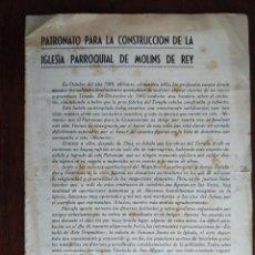 Coleccionismo: PATRONATO PARA LA CONSTRUCCIÓN DE LA IGLESIA PARROQUIAL DE MOLINS DE REY 1943. SUSCRIPCIÓN POPULAR . Lote 194859615