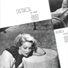 Coleccionismo: AÑO 1935 RECORTE PRENSA CINE MARLENE DIETRICH ACTRIZ ARTISTA. Lote 194894255
