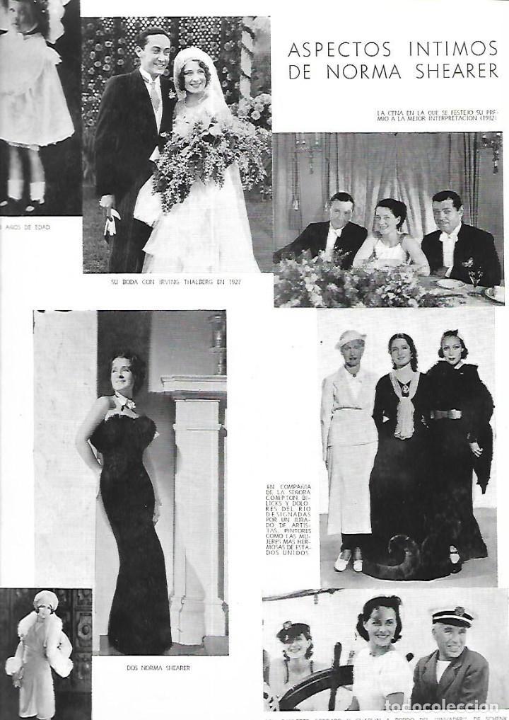 AÑO 1935 RECORTE PRENSA NORMA SHEARER ACTRIZ ASPECTOS INTIMOS BODA (Coleccionismo - Laminas, Programas y Otros Documentos)