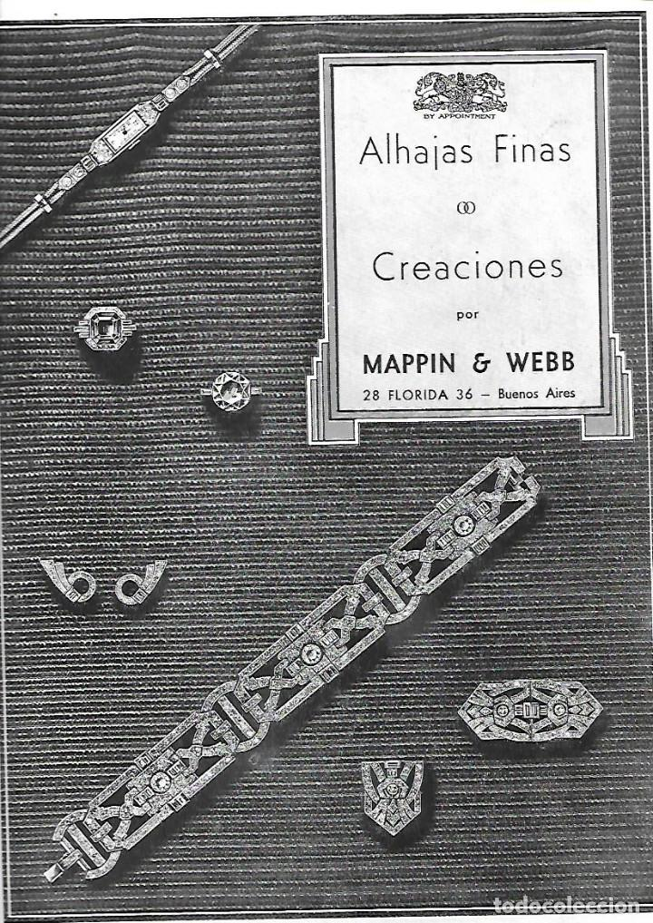 AÑO 1935 RECORTE PRENSA PUBLICIDAD JOYAS ALHAJAS FINAS CREACION MAPPIN WEBB BUENOS AIRES (Coleccionismo - Laminas, Programas y Otros Documentos)