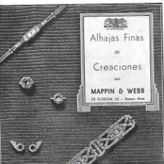 Coleccionismo: AÑO 1935 RECORTE PRENSA PUBLICIDAD JOYAS ALHAJAS FINAS CREACION MAPPIN WEBB BUENOS AIRES. Lote 194894607