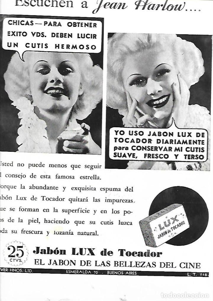 AÑO 1935 RECORTE PRENSA PUBLICIDAD JEAN HARLOW PUBLICITANDO PASTILLA DE JABON TOCADOR LUX (Coleccionismo - Laminas, Programas y Otros Documentos)