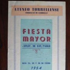 Coleccionismo: FESTA MAJOR APLEC DE SANT PAU 1954 ATENEU TORRELLENC, DE TORRELLES DE LLOBREGAT.. Lote 194895146