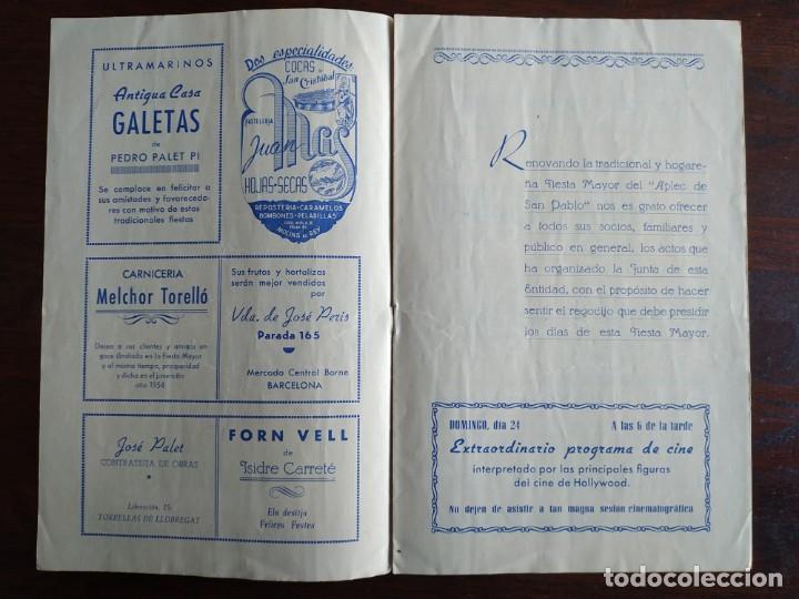 Coleccionismo: Festa Major Aplec de Sant Pau 1954 Ateneu Torrellenc Torrelles de Llobregat Orqu Planas de Martorell - Foto 2 - 194895146
