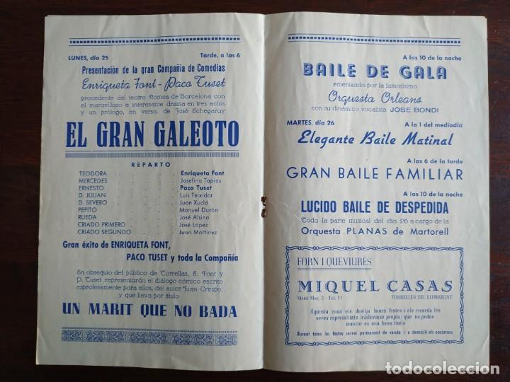 Coleccionismo: Festa Major Aplec de Sant Pau 1954 Ateneu Torrellenc Torrelles de Llobregat Orqu Planas de Martorell - Foto 3 - 194895146