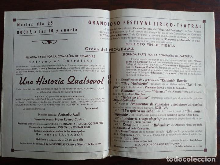 Coleccionismo: Festa Major Aplec de Sant Pau 1955 Ateneu Torrellenc, de Torrelles de Llobregat Con orquesta Orleans - Foto 2 - 194895860