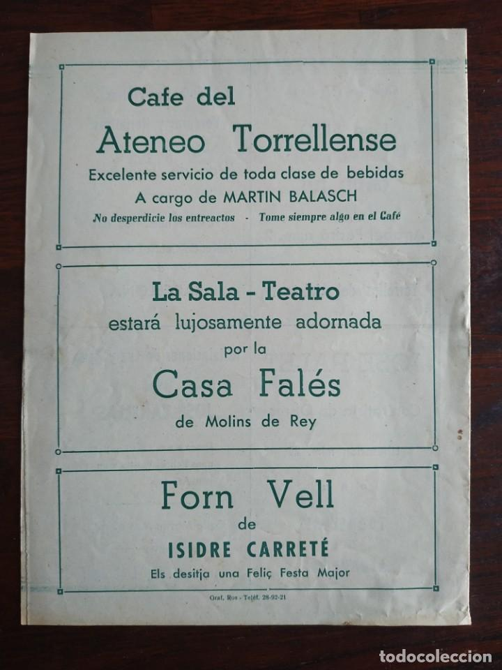 Coleccionismo: Festa Major Aplec de Sant Pau 1955 Ateneu Torrellenc, de Torrelles de Llobregat Con orquesta Orleans - Foto 4 - 194895860