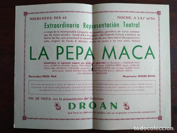 Coleccionismo: Festa Major Aplec de Sant Pau 1956 Ateneu Torrellenc, de Torrelles de Llobregat. La pepa Maca - Foto 3 - 194896575