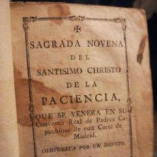 Coleccionismo: SAGRADA NOVENA DEL SANTÍSIMO CHRISTO DE LA PACIENCIA SIGLO XVIII. Lote 194900551