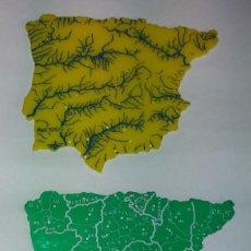 Coleccionismo: BONITOS MAPAS DE ESPAÑA POLÍTICO Y FÍSICO AÑOS 70'S EN PLÁSTICO. Lote 194906145