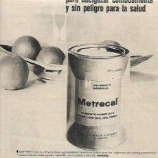 Coleccionismo: AÑO 1961 RECORTE PRENSA PUBLICIDAD METRECAL ALIMENTO CONTROL PESO ADELGAZAR FARMACIA. Lote 194915777