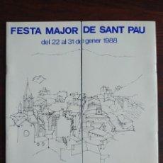 Coleccionismo: FESTA MAJOR DE SANT PAU 1988 A TORRELLES DE LLOBREGAT 6º CONCURS D'ESTELLADORS I ORQUESTRA SELVAMAR. Lote 194954985