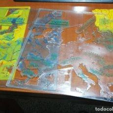 Coleccionismo: 3 MAPAS DE ESPAÑA Y 3 DE EUROPA. SILUETAS. POLITICO + RIOS Y MONTAÑAS. EGB. RARÍSIMO TAN COMPLETO. Lote 194966737