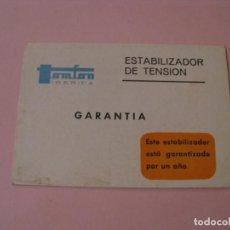 Coleccionismo: FOLLETO INSTRUCCIONES Y GARANTÍA DE ESTABILIZADOR DE TENSIÓN. TOMFON IBÉRICA. AÑOS 60.. Lote 194972986