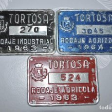 Coleccionismo: MATRICULAS VEHÍCULO INDUSRIAL Y AGRÍCOLA AÑOS 1963 Y 64 TORTOSA (TARRAGONA) 4X7CM. Lote 194997362