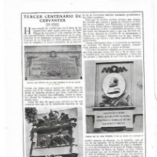 Coleccionismo: AÑO 1915 RECORTE PRENSA TERCER CENTENARIO CERVANTES LAPIDA HOSPITAL INCURABLES CONVENTO TRINITARIAS. Lote 195041965
