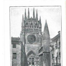 Coleccionismo: AÑO 1915 RECORTE PRENSA LAMINA FOTOGRAFIA LACOSTE CATEDRAL BURGOS PUERTA DEL SARMENTAL. Lote 195042683
