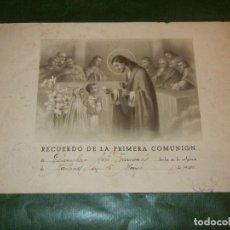 Coleccionismo: MARTORELL 1940 - LAMINA RECUERDO PRIMERA COMUNION - SELLO ARZIPR.PARR. SRA. MARIA DE MARTORELL. Lote 195044322