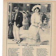 Coleccionismo: AÑO 1915 RECORTE PRENSA POESIA EL AMOR IMPOSIBLE POR SINESIO DELGADO DIBUJO MENDEZ BRINGA. Lote 195049801