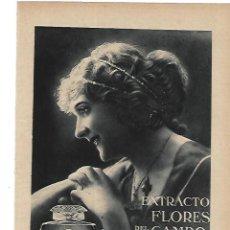 Coleccionismo: AÑO 1915 RECORTE PRENSA PUBLICIDAD COLONIA EXTRACTO FLORES DEL CAMPO PERFUMERIA FLORALIA. Lote 195050552