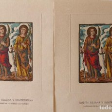 Coleccionismo: PR-1710. SANTAS JULIANA Y SEMPRONIANA. PATRONAS DE LA CIUDAD DE MATARÓ. LAMINAS ORIGINALES.AÑO 1958. Lote 195055976