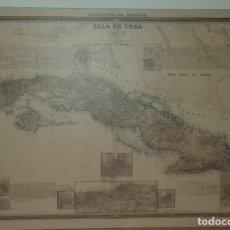 Coleccionismo: CUADRO-LIENZO REPRODUCCIÓN MAPA ISLA DE CUBA SIGLO XIX. GUERRA DE CUBA. Lote 195063216