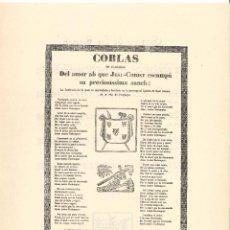 Coleccionismo: COBLAS.- DEL AMOR AB QUE JESU-CHRIST ESCAMPÁ SA PRECIOSÍSSIMA SANCH. PERPINYA- 1806 (FACSÍMIL). Lote 195105998