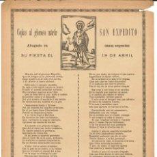 Coleccionismo: COPLAS.- AL GLORIOSO MÁRTIR SAN EXPEDITO. ABOGADO EN CASOS URGENTES. ESTAMPERÍA RELIGIOSA. Lote 195110358