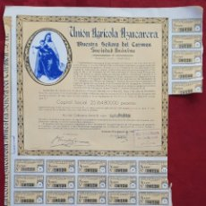 Coleccionismo: UNIÓN AGRICOLA AZUCARERA NUESTRA SEÑORA DEL CARMEN SOCIEDAD ANÓNIMA GRANADA 10 AGOSTO DE 1962. Lote 195118901
