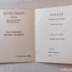 Coleccionismo: ANTIGUA INVITACION COMIDA XXIII CONGRESO NACIONAL BELENISTA 1985 HOTEL PELAYO COVADONGA ASTURIAS. Lote 195141540