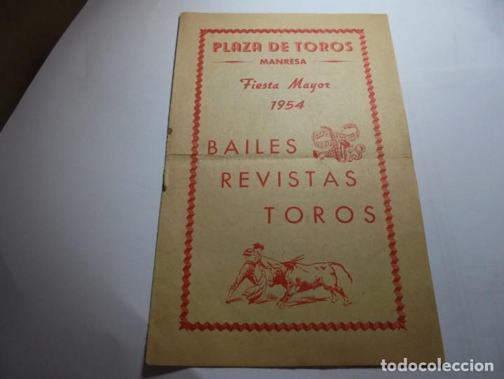 MAGNIFICO PROGRAMA PLAZA DE TOROS MANRESA FIESTA MAYOR DEL 1954 (Coleccionismo - Laminas, Programas y Otros Documentos)