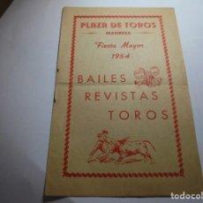 Coleccionismo: MAGNIFICO PROGRAMA PLAZA DE TOROS MANRESA FIESTA MAYOR DEL 1954. Lote 195235431