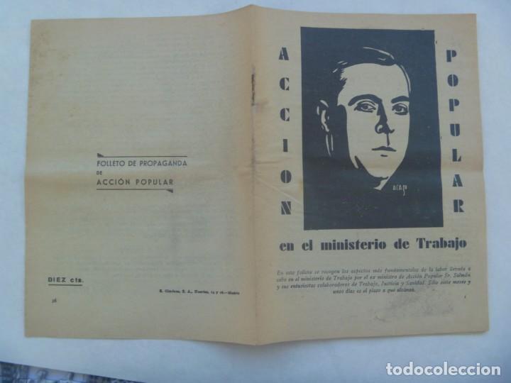 Coleccionismo: REPUBLICA - ELECCIONES DE 1936 : FOLLETE DE PROPAGANDA DE ACCION POPULAR, MINISTERIO TRABAJO - Foto 3 - 195236167
