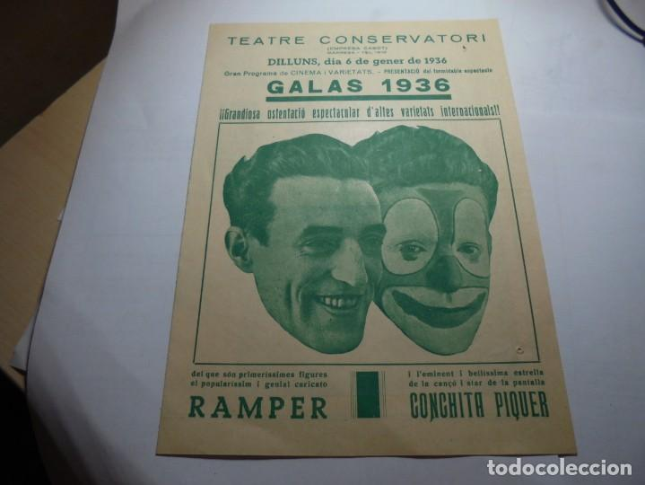 MAGNIFICO PROGRAMA TEATRE CONSERVATORI DE MANRESA GALAS 1936 (Coleccionismo - Laminas, Programas y Otros Documentos)