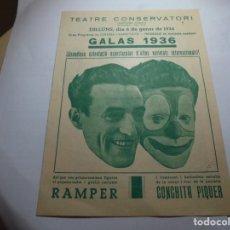 Coleccionismo: MAGNIFICO PROGRAMA TEATRE CONSERVATORI DE MANRESA GALAS 1936. Lote 195238963