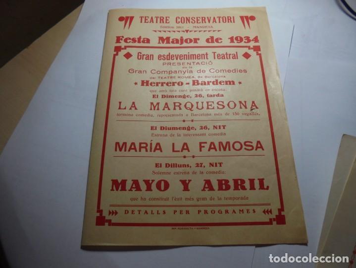 MAGNIFICO PROGRAMA TEATRE CONSERVATORI DE MANRESA FESTA MAJOR DE 1934 (Coleccionismo - Laminas, Programas y Otros Documentos)