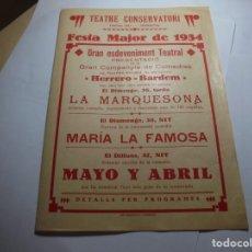 Coleccionismo: MAGNIFICO PROGRAMA TEATRE CONSERVATORI DE MANRESA FESTA MAJOR DE 1934. Lote 195239326