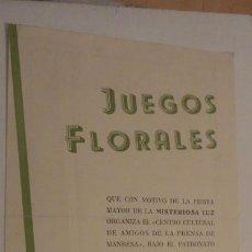 Coleccionismo: PREGON.JUEGOS FLORALES.MANRESA 1942.. Lote 195266357