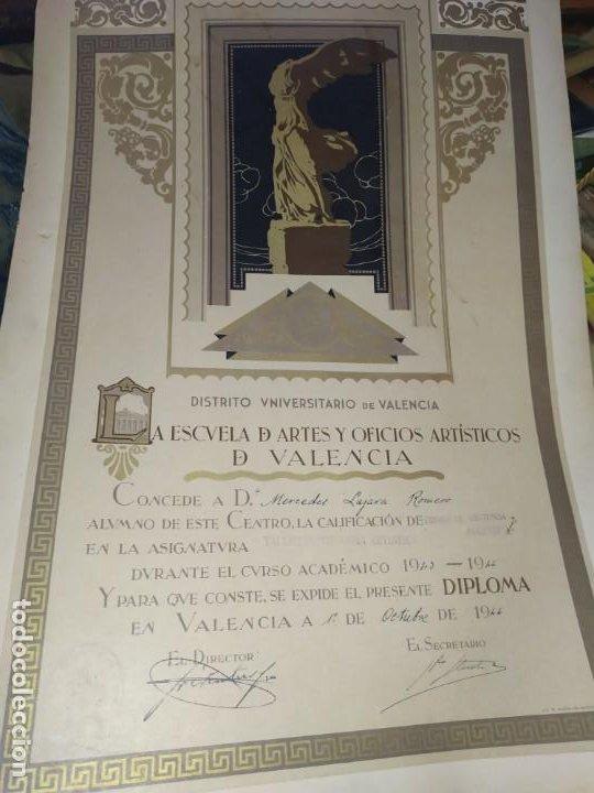 GRAN TÍTULO ESCUELA DE ARTE Y OFICIOS ARTÍSTICOS DE VALENCIA 1944 CARTÓN (Coleccionismo - Laminas, Programas y Otros Documentos)