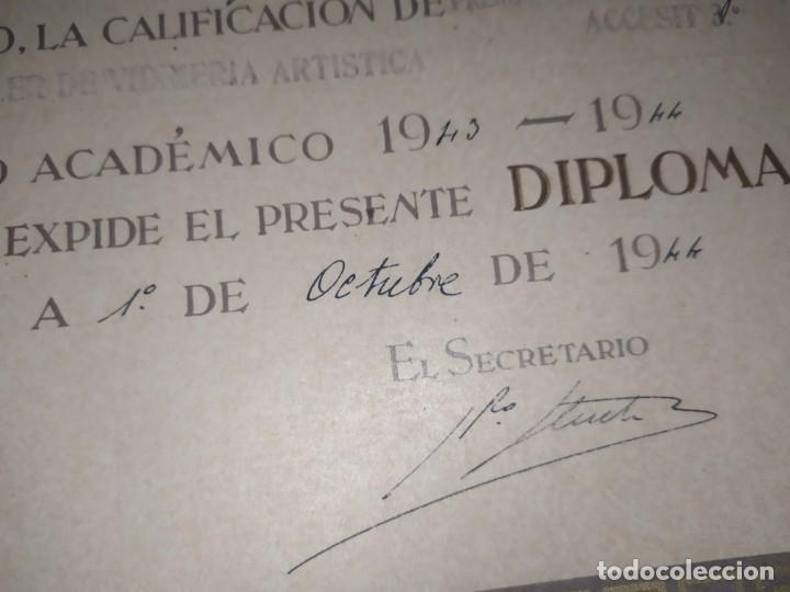 Coleccionismo: GRAN TÍTULO ESCUELA DE ARTE Y OFICIOS ARTÍSTICOS DE VALENCIA 1944 CARTÓN - Foto 10 - 195341091