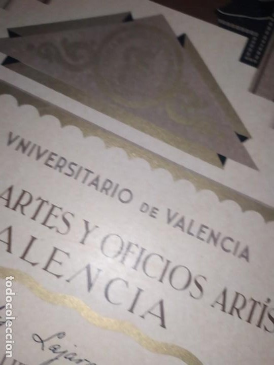 Coleccionismo: GRAN TÍTULO ESCUELA DE ARTE Y OFICIOS ARTÍSTICOS DE VALENCIA 1944 CARTÓN - Foto 19 - 195341091