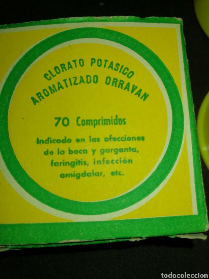 Coleccionismo: ANTIGUO MEDICAMENTO ORRAVAN, CON COMPRIMIDOS, CLORATO POTÁSICO. - Foto 2 - 195341322