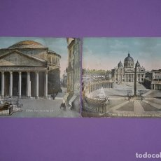 Coleccionismo: LOTE 2 LAMINAS ROMA -PANTHEON DI AGRIPPA Y BASILICA DE SAN PEDRO LA FACCIATA LAMINA CARTULINA GRUESA. Lote 195343346