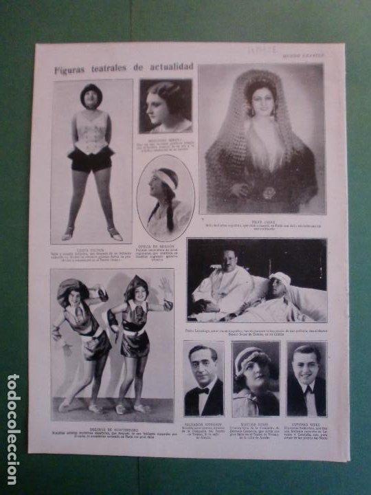 FIGURAS TEATRALES DE LA ACTUALIDAD - LOLITA PUCHOL PEDRO LARRAÑAGAPILAR CALVO - 18/7/1928 (Coleccionismo - Laminas, Programas y Otros Documentos)