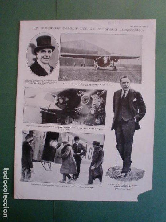 MISTERIOSA DESAPARICION DEL MILLONARIO LOEWENSTEIN - 18/7/1928 (Coleccionismo - Laminas, Programas y Otros Documentos)