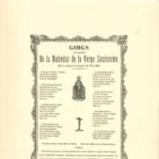 Coleccionismo: GOIGS.- NATIVITAT DE LA VERGE SANTISSIMA. CAPELLA VILAR- MILAR. IMPRENTA J. COMET- PERPIGNAN. Lote 195388693