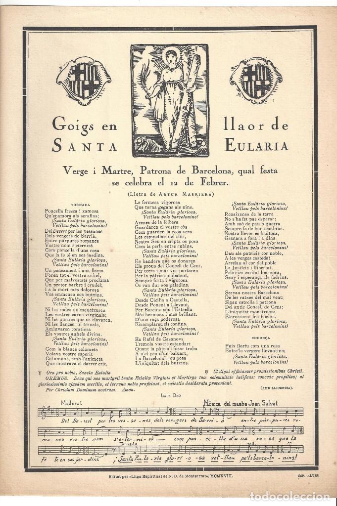 Coleccionismo: GOIGS.- SANTA EULARIA. PATRONA DE BARCELONA. LLIGA ESPIRITUAL N. D. MONTSERRAT- 1918 - Foto 2 - 195389465