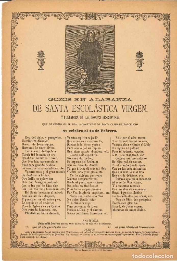 GOZOS.- SANTA ESCOLÁSTICA VIRGEN. MONASTERIO DE SANTA CLARA- BARCELONA (Coleccionismo - Laminas, Programas y Otros Documentos)