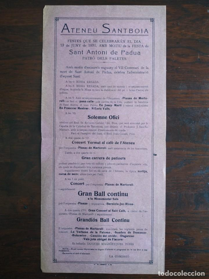 FESTA DE SANT ANTONI DE PÀDUA AL ATENEU SANTBOIA DE SANT BOI DE LLOBREGAT 1931 VII CENTENARI DE MORT (Coleccionismo - Laminas, Programas y Otros Documentos)